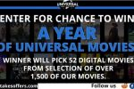 Universal Year of Free Movies Sweepstakes