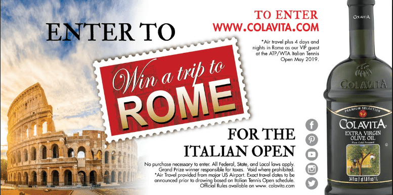 Colavita Tennis Channel Sweepstakes Contest