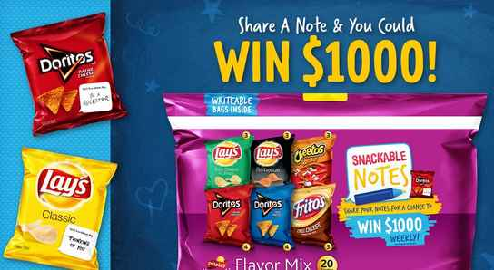 frito lay snackable notes sweepstakes - chance to win cash