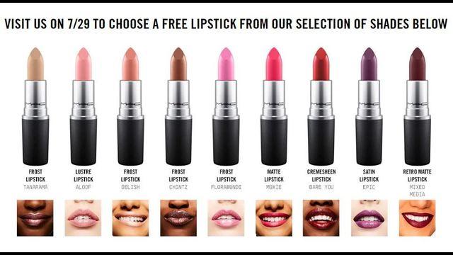 Mac Free Lipstick Giveaway