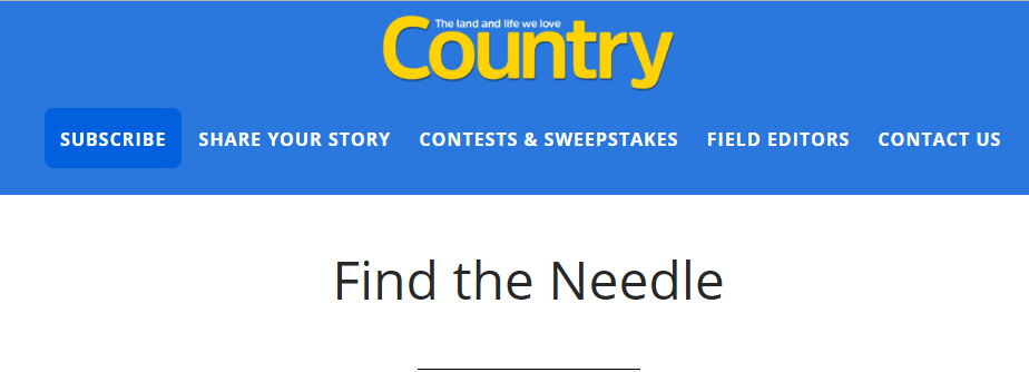 The Country Extra Hidden Object Sweepstakes Win One year Subscription