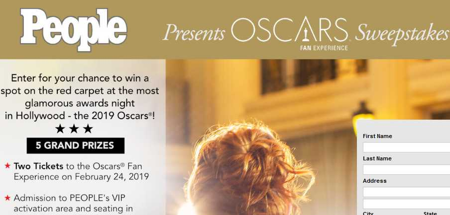 PEOPLE Oscars Fan Experience Sweepstakes 2019
