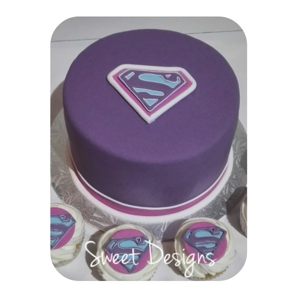 Supergirl Cake with Cupcakes