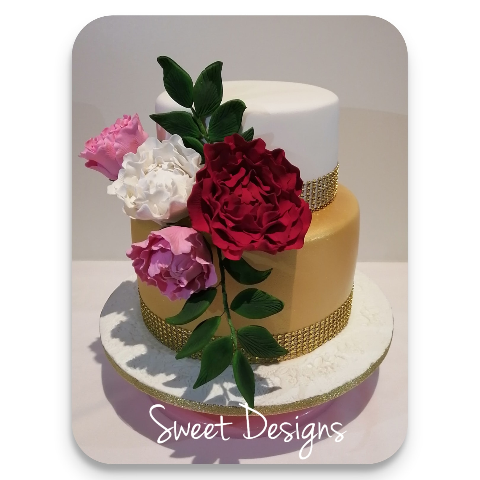 Gold and White Cake with peony gumpaste flowers