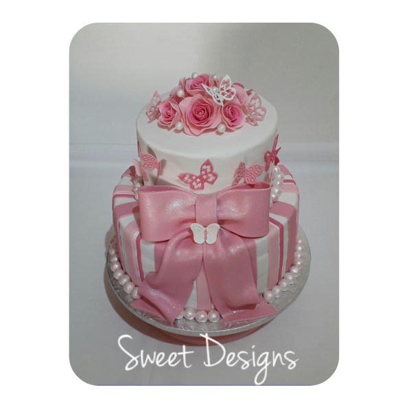 2Tier Pink and White Birthday Cake