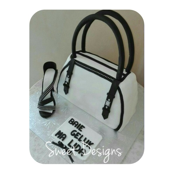Handbag Cake with Fondant High Heel Shoe