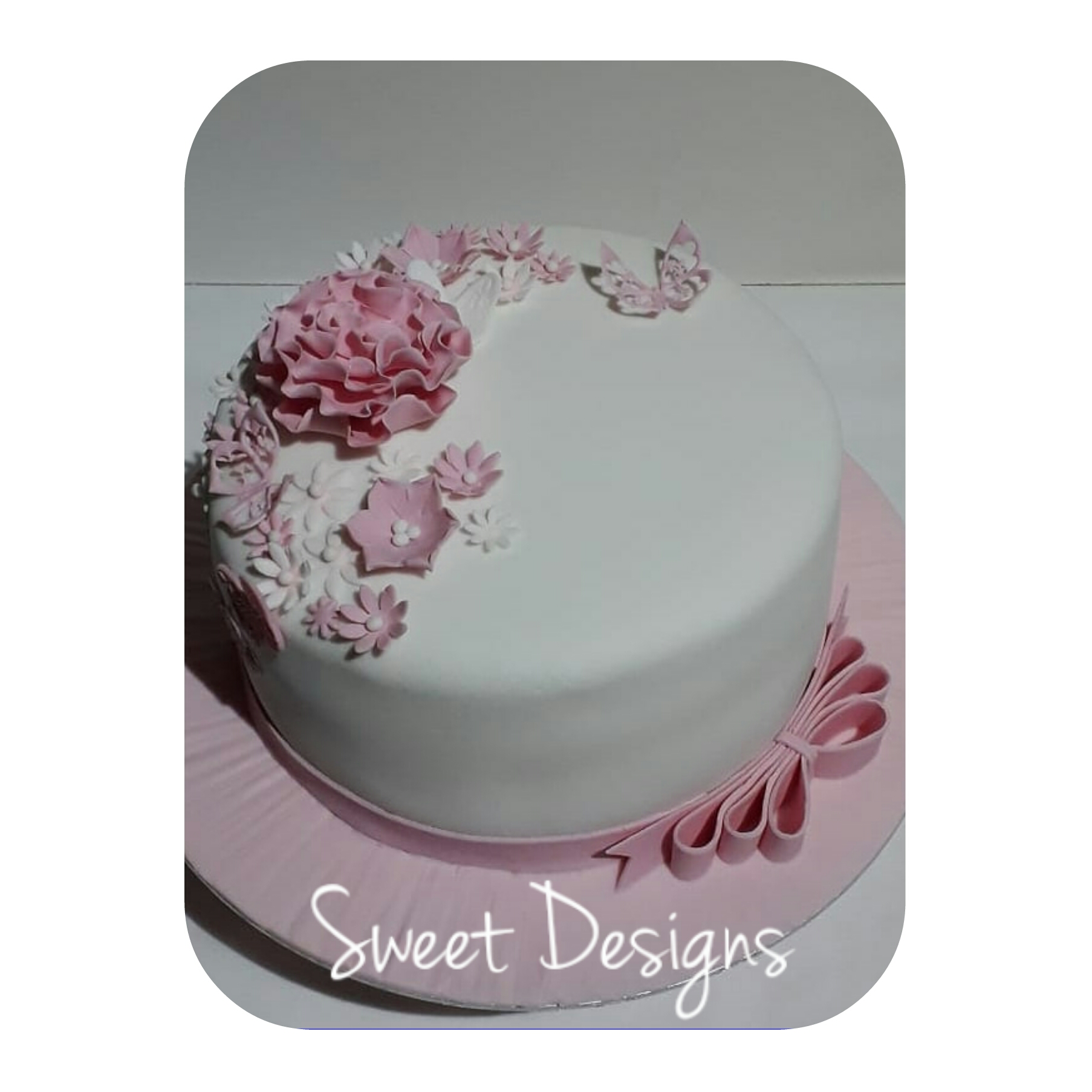 Birthday Cake with Fondant Ribbon and Flowers
