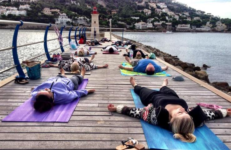 Where does the sunset Yoga take place