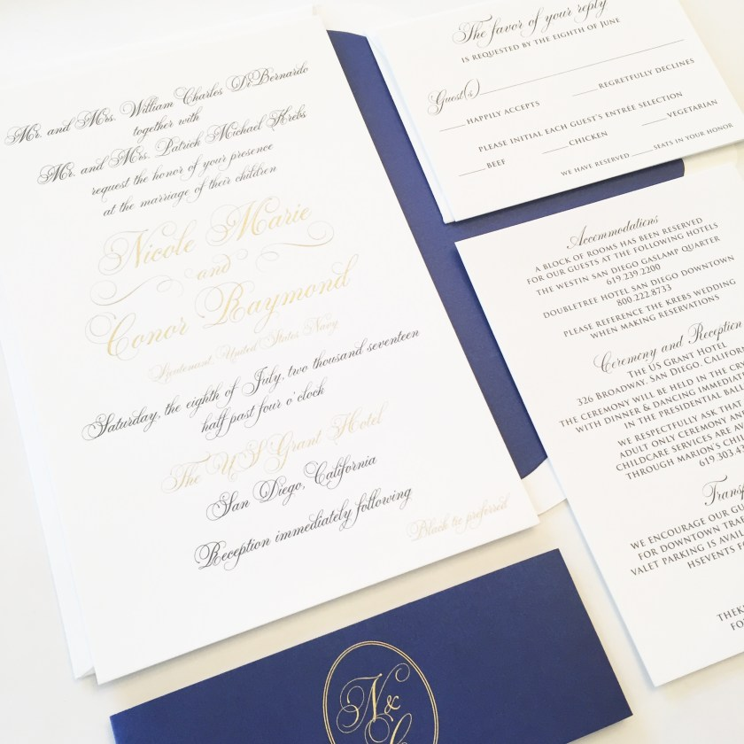 Being A Military Wedding It Was Important To Incorporate Navy Into Their Invitation Design In Wanting Keep The Itself Neutral