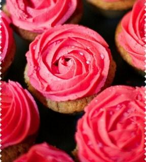 Valentine's Pink Rose Buttercream Swirl Vanilla Cupcakes