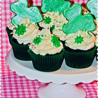 Baileys Irish Cream Shamrock Cupcakes