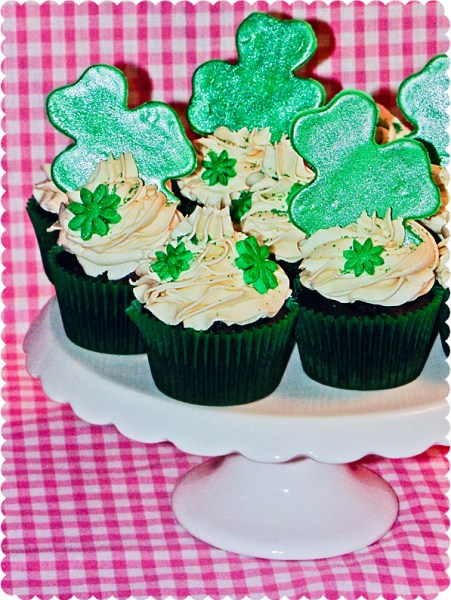 Baileys St Patrick's Day Irish cream chocolate buttercream frosting Shamrock cupcakes