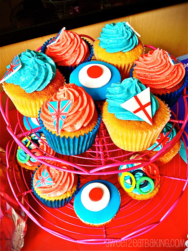 Olympic theme england red white blue 2012 cupcakes