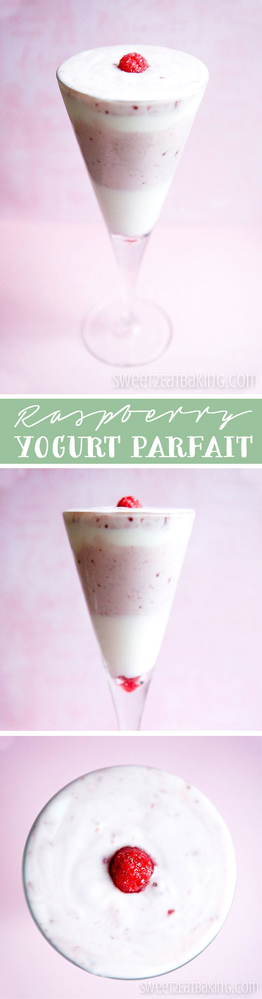 Quick and Easy Raspberry Natural Yogurt Parfait Recipe by Sweet2EatBaking.com | A perfect healthy cooling treat for hot summer days. Only 2-3 ingredients needed. Ready in under 5 minutes!