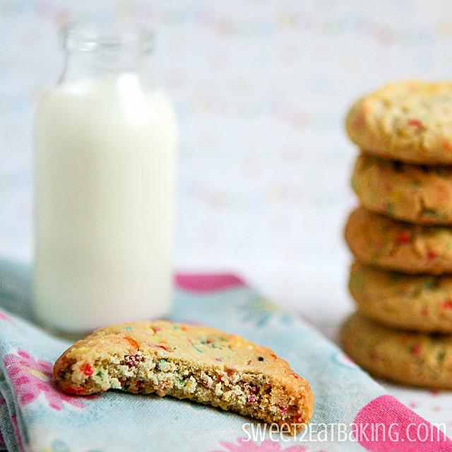 Funfetti Cake Batter Cookies Recipe by Sweet2EatBaking.com - No box mix