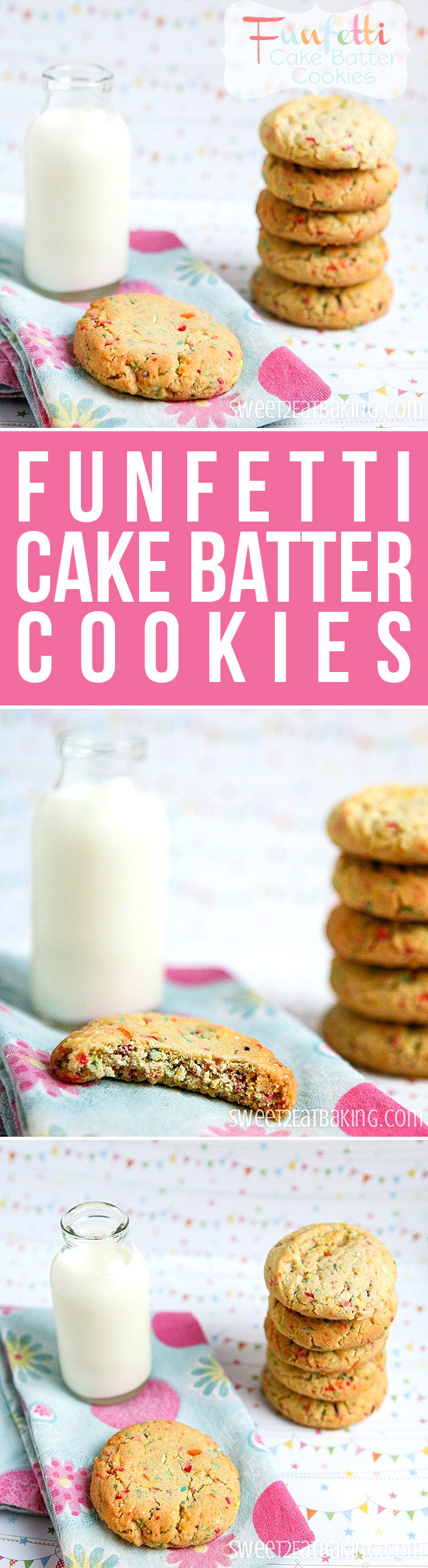 Funfetti Cake Batter Cookies by Sweet2EatBaking.com | Tastes like cake batter, but without the box cake mix! A super delicious cookie with a textured crunch from the sprinkles!