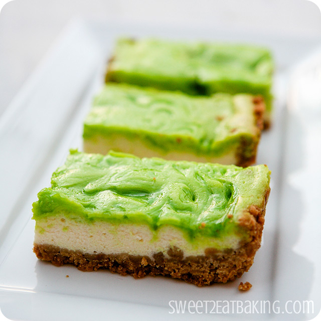 Key Lime Cheesecake Bars by Sweet2EatBaking.com