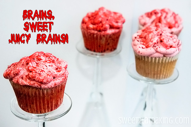 Halloween Bloody Brains Cupcakes