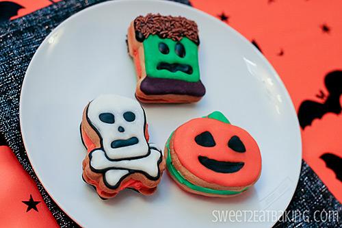 Halloween Sandwich Cookies - Skull n' Crossbones, Jack o' Lantern, Frankenstein's Monster