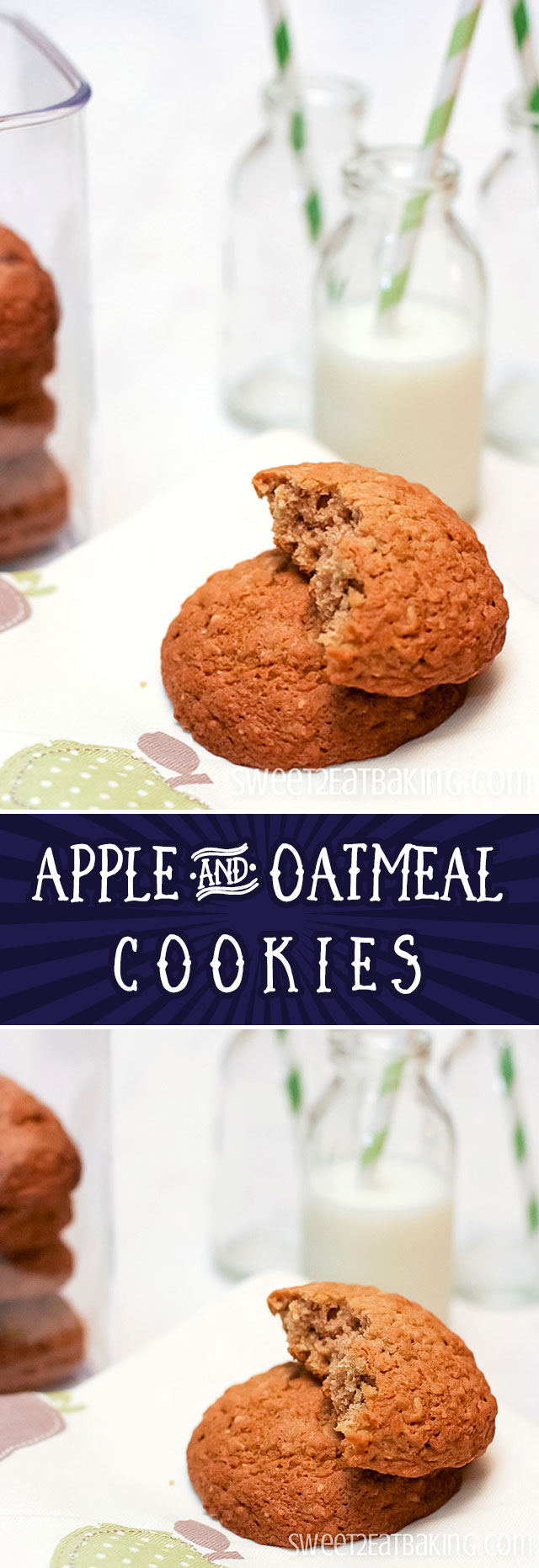 Apple and Oatmeal Cookies Recipe by Sweet2EatBaking.com | Lightly spiced with cinnamon which gives them that warming winter kick. The oatmeal gives them a slightly chewy texture. Light and moist.