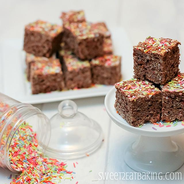 Chocolate Funfetti Cake Batter Rice Krispie Treats by Sweet2EatBaking.com
