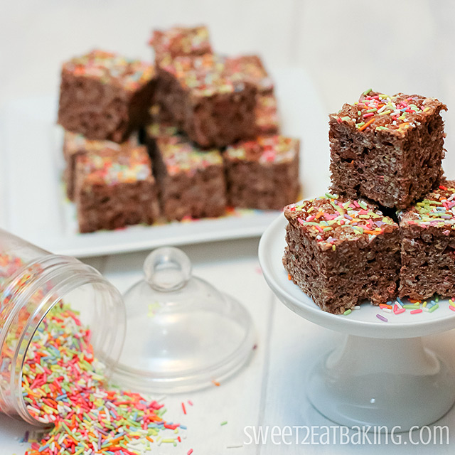Chocolate Funfetti Cake Batter Rice Krispie Treats by Sweet2EatBaking.com