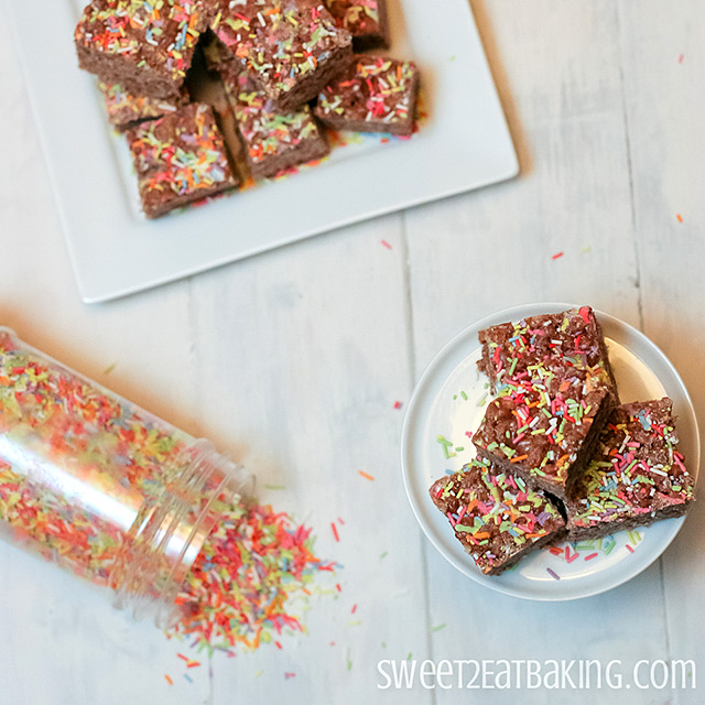 Chocolate Funfetti Cake Batter Rice Krispie Treats