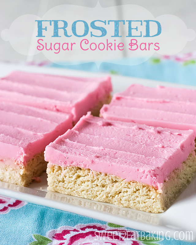 Frosted Sugar Cookie Bars by Sweet2EatBaking.com