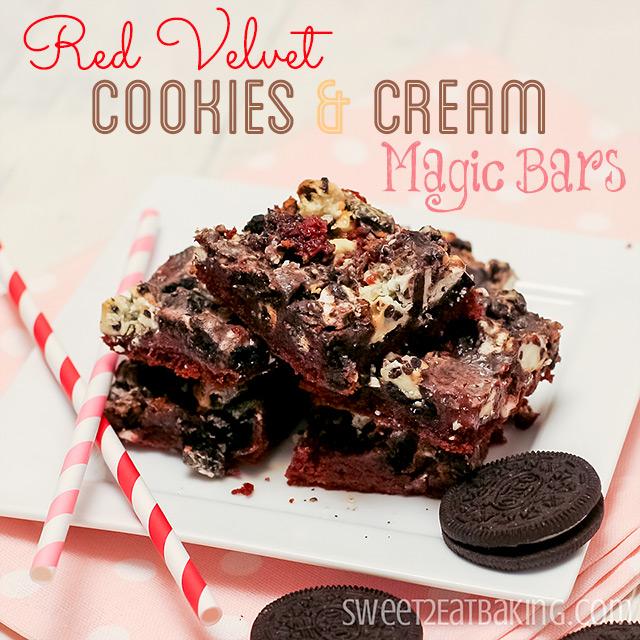 Red Velvet Cookies and Cream Magic Bars