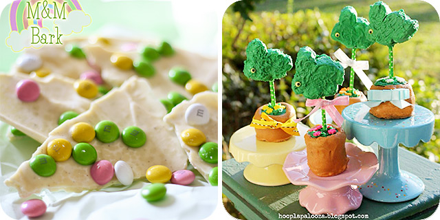 Easter M&M Bark   Bunny Topiary Cake Pops