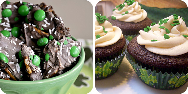 Lucky Leprechaun Cookie Bark | Chocolate Guiness Cupcakes with Bailey's Irish Cream Frosting