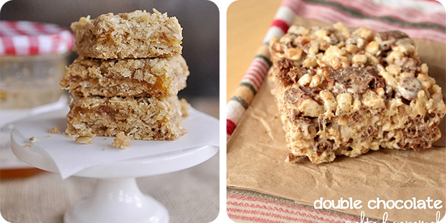 Apricot Jam Bar Cookies | Double Chocolate Salted Caramel Rice Krispie Treats