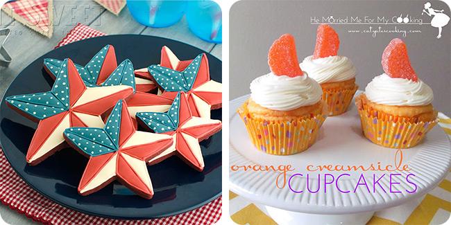Patriotic Barn Star Cookies | Orange Creamsicle Cupcakes