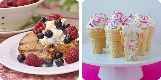 Grilled Brown Butter Pound Cake with Lemon Curd and Fresh Berries | Funfetti Ice Cream Cone Cupcakes