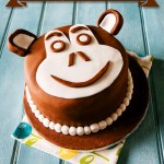 巧克力 Chimp Monkey Face 生日 Cake