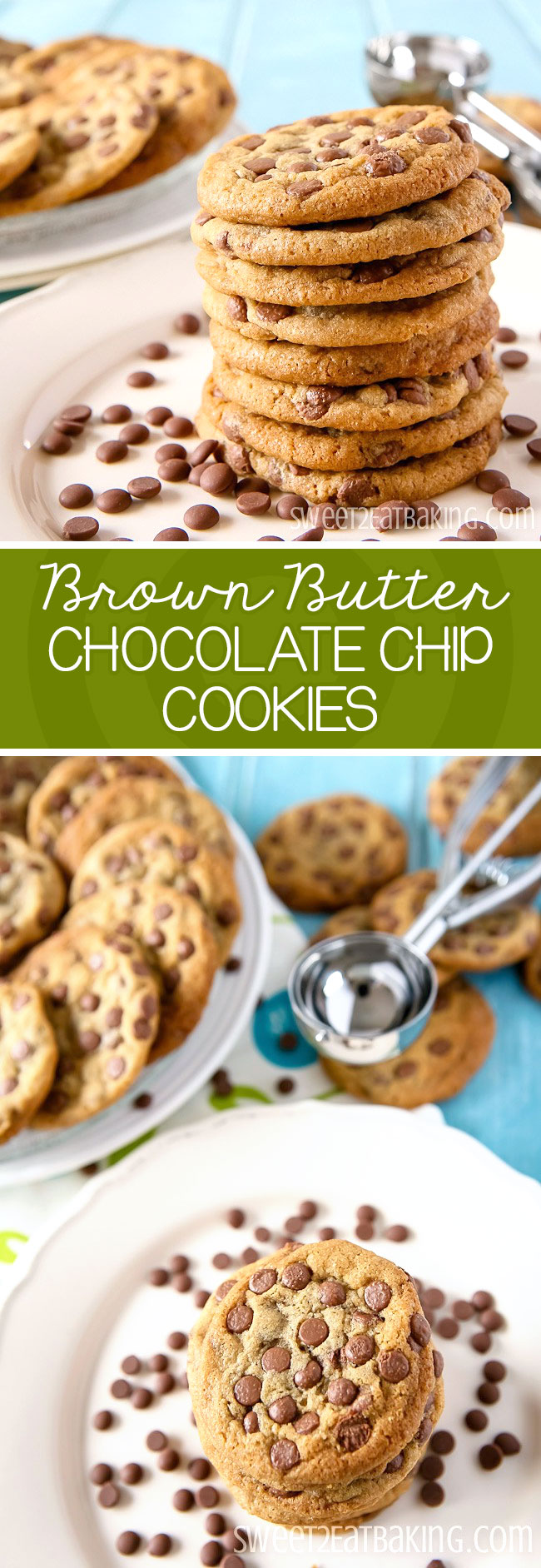 Brown Butter Chocolate Chip Cookies Recipe by Sweet2EatBaking.com | These are my families favourite go to recipe. Made with brown butter which really amps up their flavour. Loaded with chocolate chips, these cookies are moist, chewy and super indulgent.