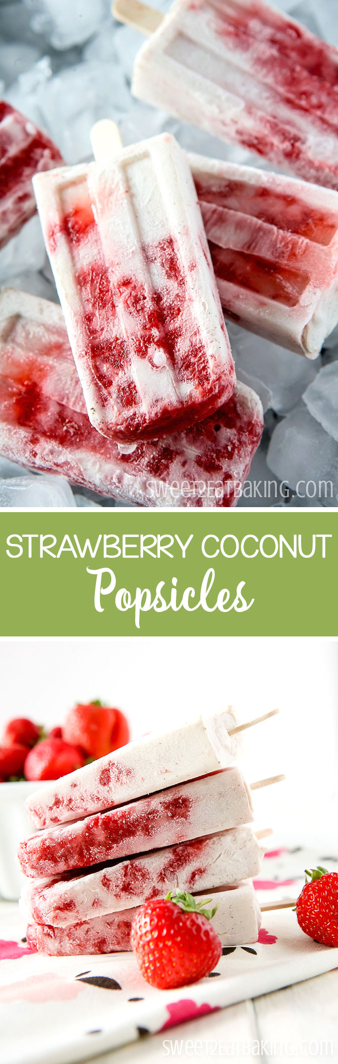 Natural Strawberry Coconut Popsicles Recipe by Sweet2EatBaking.com | Made using all natural ingredients- no refined sugar! Using strawberries, coconut milk, honey, and vanilla bean paste. A delicious way to beat the heat this summer!