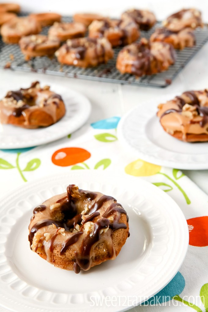 Banana and Walnut Doughnuts Recipe with Fudge Glaze Icing by Sweet2EatBaking.com