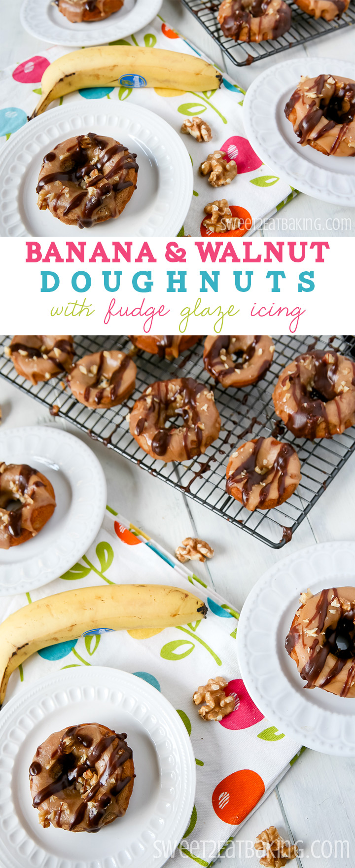 Banana & Walnut Baked Doughnuts with Fudge Glaze Icing Recipe by Sweet2EatBaking.com