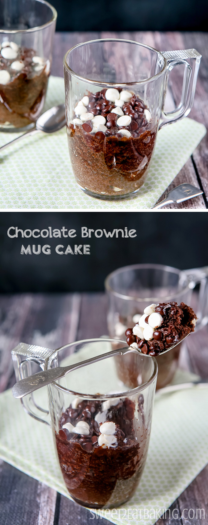 Fudgy Chocolate Brownie Mug Cake Recipe by Sweet2EatBaking.com