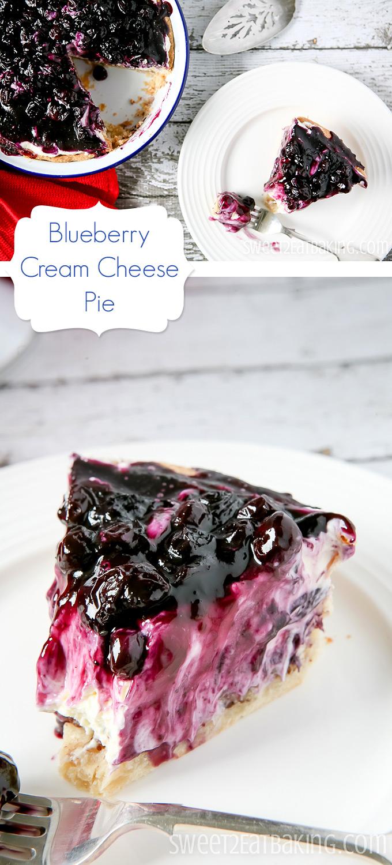 Blueberry Cream Cheese Pie Recipe by Sweet2EatBaking.com