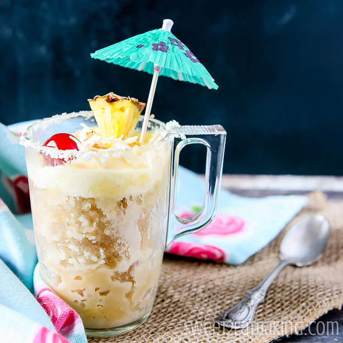 Quick Piña Colada Mug Cake by Sweet2EatBaking.com