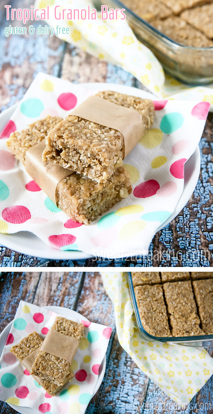 Chewy Tropical (Coconut, Pineapple and Banana) Granola Bars Recipe by Sweet2EatBaking.com