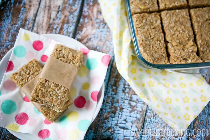 Sticky Tropical (Coconut, Pineapple and Banana) Granola Bars by Sweet2EatBaking.com