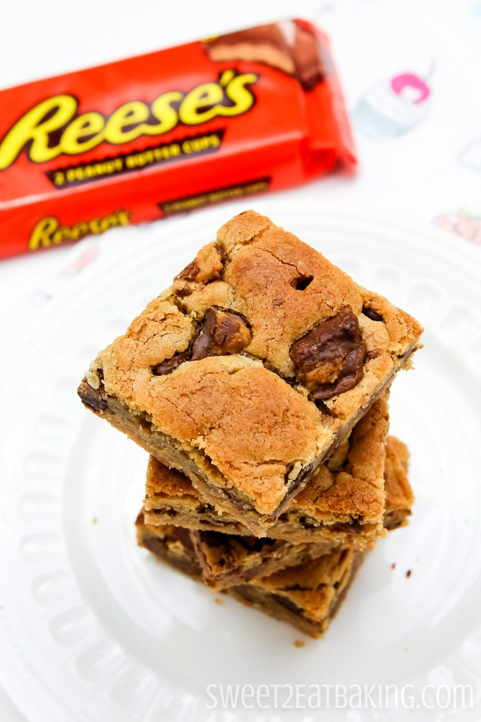 Peanut Butter Cup Blondies by Sweet2EatBaking.com