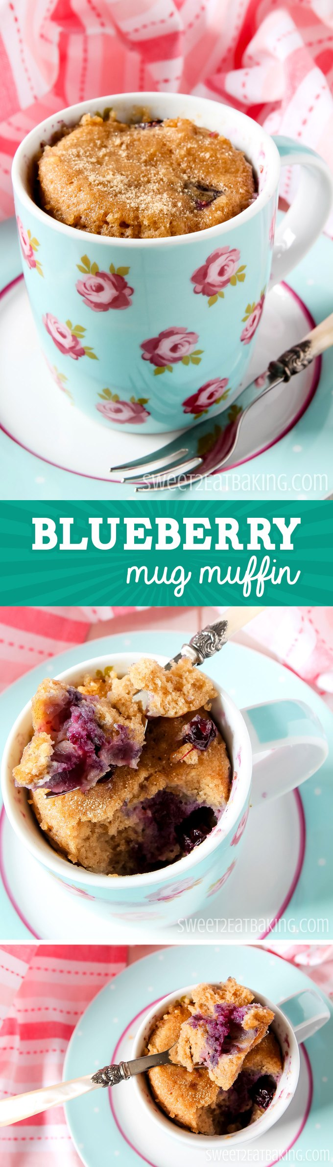 Quick & Easy 5-Minute Blueberry Mug Muffin Recipe by Sweet2EatBaking.com