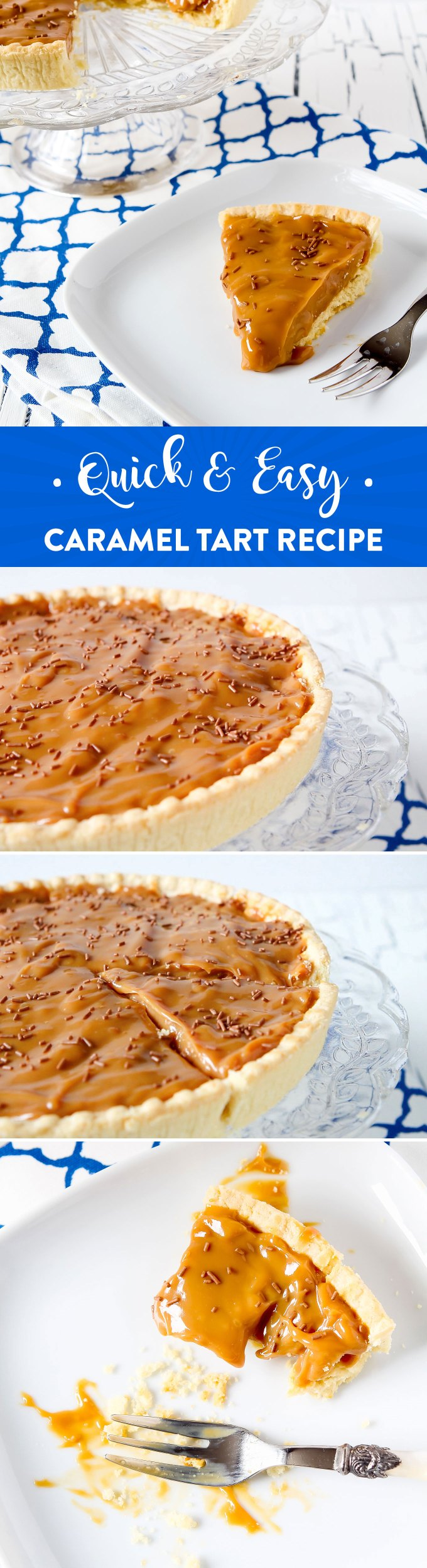 Quick and easy Caramel Tart recipe by Sweet2EatBaking.com | This rich and delicious dessert needs just 2-3 ingredients needed, and just 5 minutes of your time! Video tutorial too.
