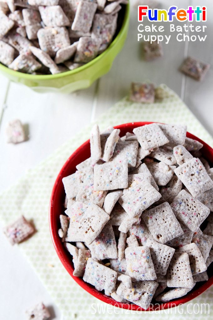 Cake Batter Puppy Chow Recipe by Sweet2EatBaking.com