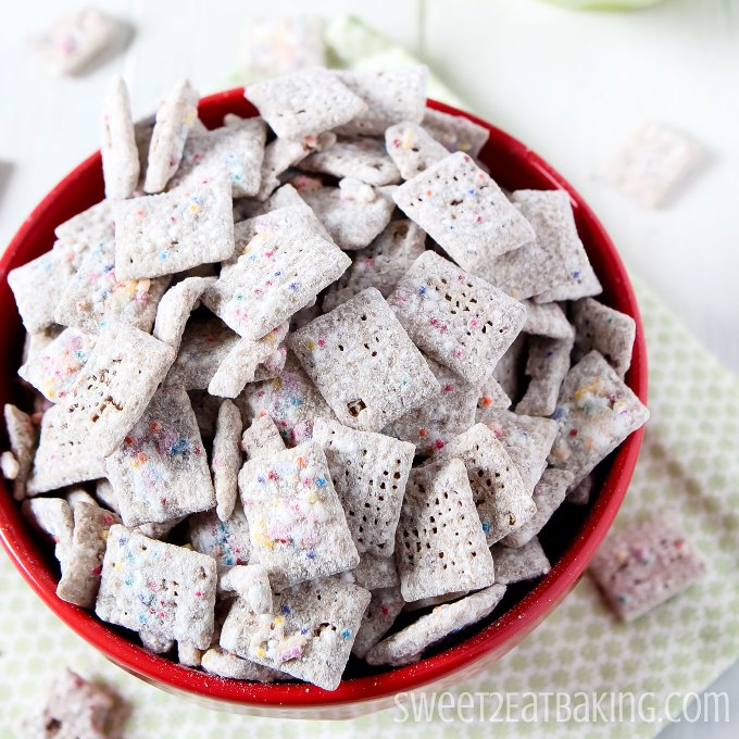 Funfetti Cake Batter Muddy Buddies by Sweet2EatBaking.com