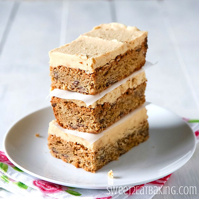 Frosted Peanut Butter Chocolate Chip Cake Bars by Sweet2EatBaking.com